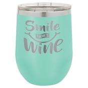 LTM856-Polar Camel 12 oz. Matte Teal Vacuum Insulated Stemless Wine Glass w/Lid