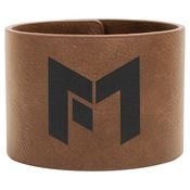 "GFT751-9 1/2"" x 2"" Dark Brown Laserable Leatherette Cuff Bracelet"