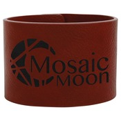 "GFT756-9 1/2"" x 2"" Rose Laserable Leatherette Cuff Bracelet"