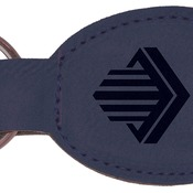 GFT361 Blue Leatherette Oval Keychain