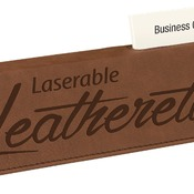 "LLW2310  10 1/2"" Dark Brown Leatherette Desk Wedge with Business Card Holder"