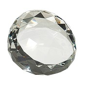 CRY66  Premier Crystal Round Faceted Paperweight