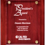 "FPA1810 8"" x 10"" Rosewood Piano Finish Plaque with Floating Clear Acrylic"