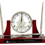 EX108  Executive Silver/Rosewood Piano Finish Clock/Pens/Ltr Opener