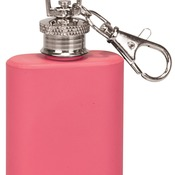 FSK111  1 oz. Matte Pink Stainless Steel Flask Keychain