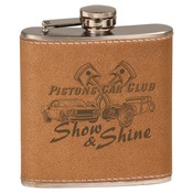 FSK605  6 oz. Faux Leather Wrapped Stainless Steel Flask