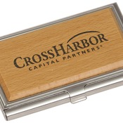 GFT130  Silver & Wood Business Card Holder