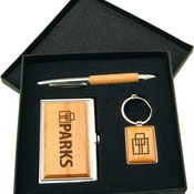 GFT200  Silver/Wood Gift Set w/ Business Card Case, Pen & Keychain