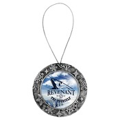 HH103  2-Sided Antique Silver Plastic Round Ornament with Silver String