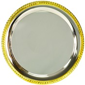PC2012  Gold Rimmed Silver Platged Tray, 12""