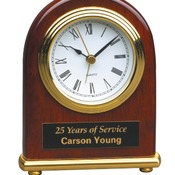 T001  Rosewood Piano Finish Arch Desk Clock