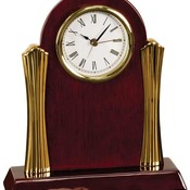 T007  Rosewood Piano Finish Desk Clock with Gold Metal Columns