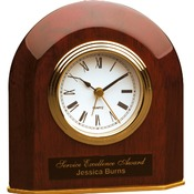T065  Rosewood Piano Finish Beveled Arch Desk Clock