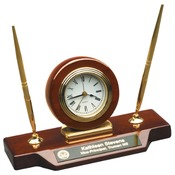 T154  Roswewood Piano Finish Desk Clock with 2 Pens