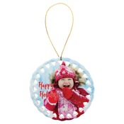 SBL001  1-Sided Round Ceramic Doily Ornament with Gold String