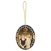 SBL002  2-Sided Oval Ceramic Doily Ornament with Gold String