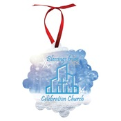 UN4102  2-Sided Gloss Aluminum London Ornament with Red Ribbon