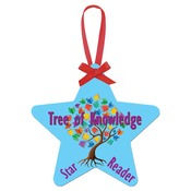 UN4331  2-Sided Gloss Aluminum Star Ornament with Red Ribbon