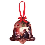 UN4333  2-Sided Gloss Aluminum Bell Ornament with Red Ribbon
