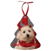 UN4334  2-Sided Aluminum Holiday Tree Ornament with Red Ribbon