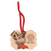 UN4734  1-Sided Matte Benelux Maple Ornament with Red Ribbon