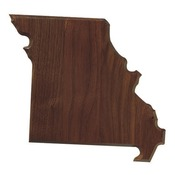 "State B-  Genuine walnut state shape plaque,  3/8"" bevel edge.  80 SQ. IN."
