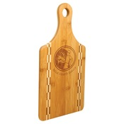 "GFT460 - 13 1/2"" x 7"" Paddle Shaped Bamboo Cutting Board with Butcher Block Inlay"