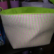 EasterBasket03 Green and Pink Plaid Basket with Embroidery