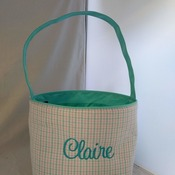 Easterbasket01-2 Teal and Pink plaid basket with Embroider name and image