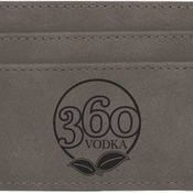 GFT386 Gray Leatherette Money Clip & Card Holder