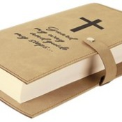"GFT305 6 1/2"" x 8 3/4"" Light Brown Leatherette Book/Bible Cover with Snap Closure"