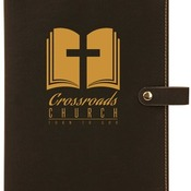 "GFT307 6 1/2"" x 8 3/4"" Black Leatherette Book/Bible Cover with Snap Closure"