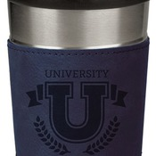 LTM043 16 oz. Blue Leatherette Stainless Steel Travel Mug