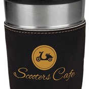 LTM047 16 oz. Black Leatherette Stainless Steel Travel Mug