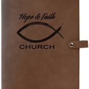 "GFT316 8 3/4"" x 11"" Dark Brown Leatherette Book/Bible Cover with Snap Closure"