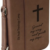 "GFT286  6 3/4"" x 9 1/4"" Dark Brown Leatherette Book/Bible Cover with Zipper & Handle"