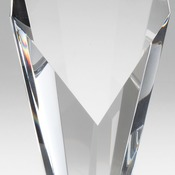 "CRY403  Elegant Crystal Slant Face On Clear Crystal Base  Laserable 3"" X 7 1/2"