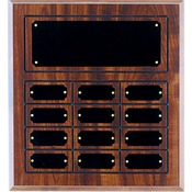 Cherry Finish Grooved Perpetual Plaque with 12 Plates