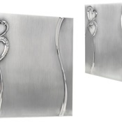 "8"" x 8"" 2-Tone Brushed/Shiny Silver Finish Hearts Guest Book"