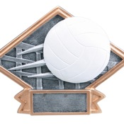 "DPS76   6"" X 4-1/2"" Diamond Plate Resin Small Volleyball Trophy"
