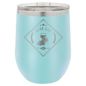 LTM857-Polar Camel 12 oz. Matte Light Blue Vacuum Insulated Stemless Wine Glass w/Lid