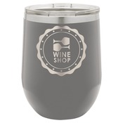 LTM860-Polar Camel 12 oz. Matte Dark Gray Vacuum Insulated Stemless Wine Glass w/Lid