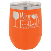LTM862-Polar Camel 12 oz. Matte Orange Vacuum Insulated Stemless Wine Glass w/Lid