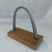 "ARCHREP - St. Louis Gateway Arch Metal Replica 4"" high on genuine walnut base with engraving/imprint"