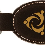 GFT241 Black Leatherette Oval Keychain
