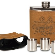 FSK705A  Leather Flask with Lid & 3 Shot Glasses
