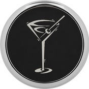 GFT338  Round Black & Silver Coaster with Silver Edge