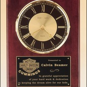 "BC98 - 12""X15""  Clock with solid brass diamond-spun bezel with glass lens, gold & black dial"