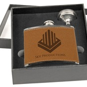 FSK675SET  Leather Flask with Funnel Gift Set