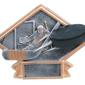 "DPS67  6"" X 4-1/2"" Diamond Plate Resin Small Hockey Trophy"